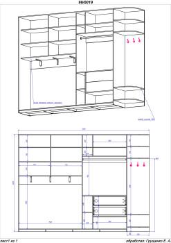 сложный чертеж шкафа купе
