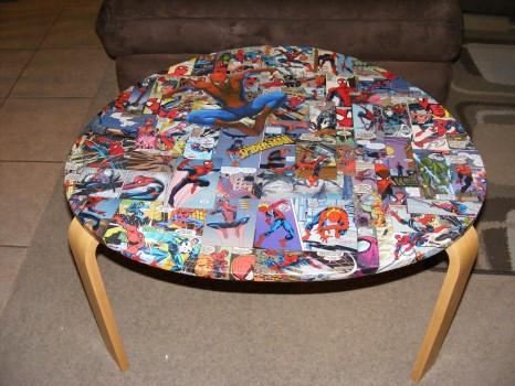 декупаж стола в стиле spiderman