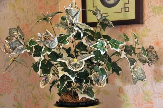 дерево с цветами из долларов