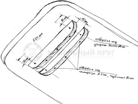 Наглядная схема для создания пазов для ножек