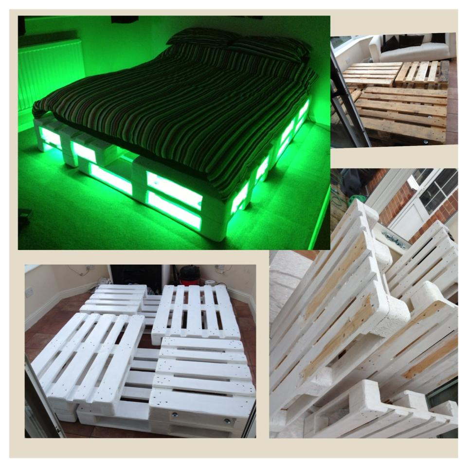 Кровать из поддонов с подсветкой своими руками фото