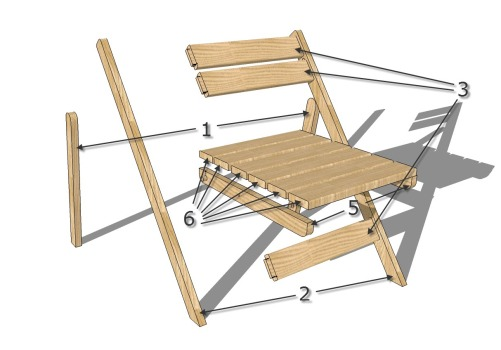 Конструкция складного стула