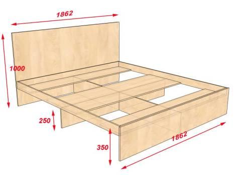 Как сделать двуспальную кровать своими руками чертежи