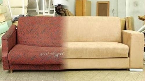Результат до и после перетяжки дивана