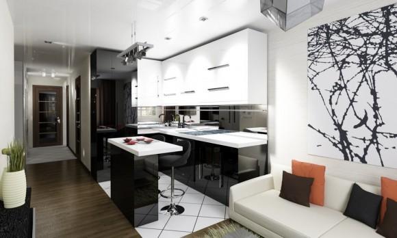 Черно-белая квартира-студия