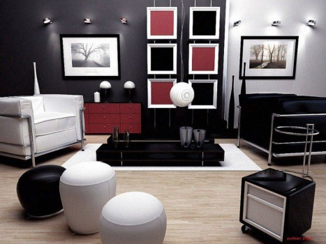 Комната в черных цветах