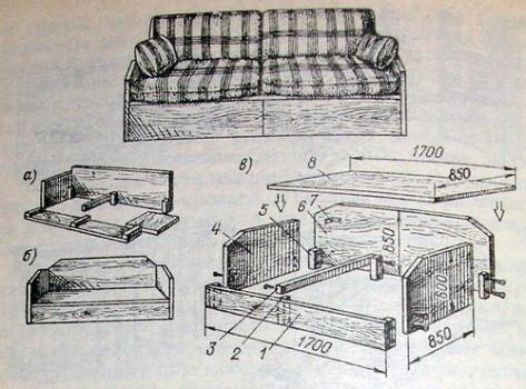 Схема диван-кровати
