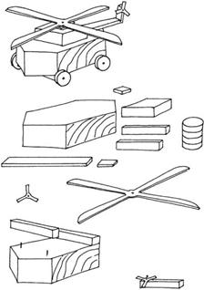 Детали деревянного вертолета