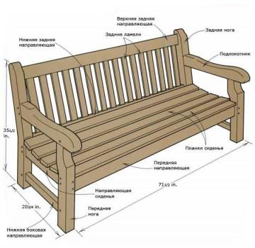 Садовая скамейка со спинкой и подлокотниками