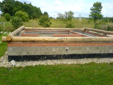 Фундамент сруба бани