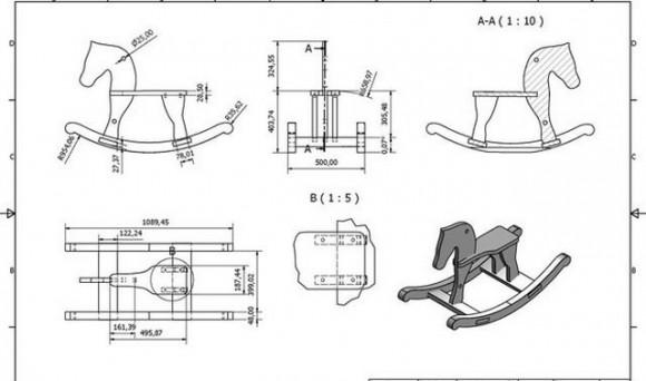 лошадка качалка своими руками чертеж